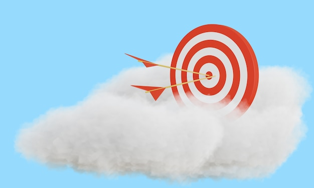 De pijl raakte doel op wolk. 3d-weergave