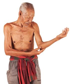 De pijnlijke elleboog van de bejaarde