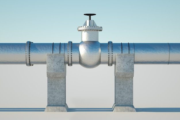 De pijpleiding tegen een lichte muur, het transport van olie en gas door leidingen. technologie, politiek, grondstoffen, economie. kopieer ruimte. 3d render, 3d illustratie.