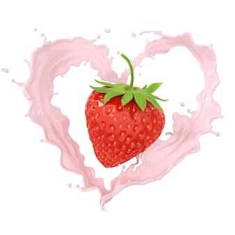 De plonsroom van de aardbei en van de melk of fruityoghurt, omvat het knippen weg, het 3d teruggeven.