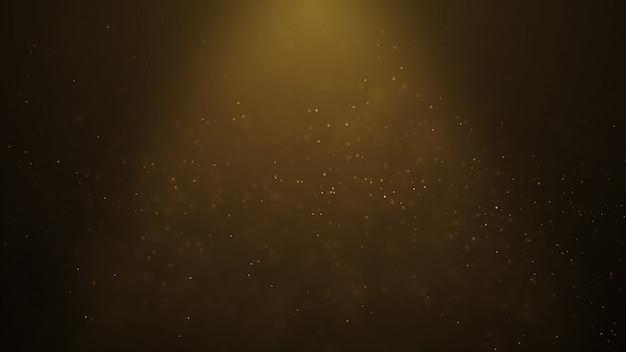 De populaire abstracte achtergrond die gouden deeltjes van stofdeeltjes glanst vonkt golf 3d animatie