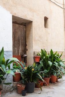 De prachtige buitengevel met een houten deur en bruine en zwarte plantenpotten