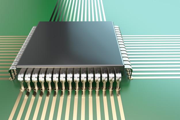 De processor op het bord. detailopname