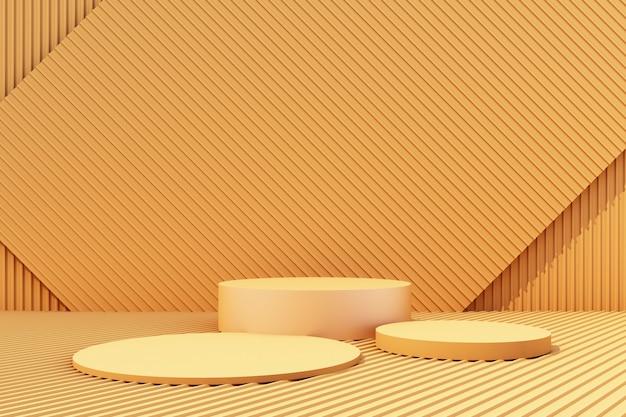De producttribune met de gele 3d achtergrond van het metaalblad geeft terug
