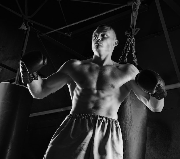 De professionele bokser staat in de vechthouding en kijkt dreigend naar de vijand