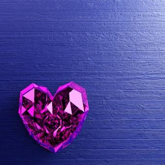 De purpere diamant van de hartvorm op blauwe houten achtergrond.