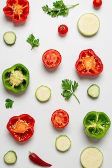 De regeling van verse groenten plat lag
