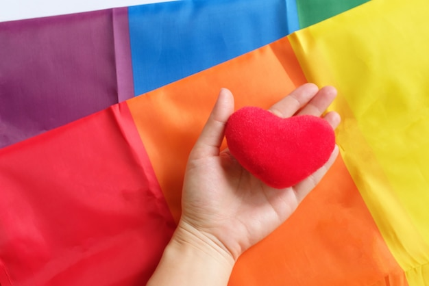 De regenboogvlag is een symbool van trots lgbt en lgbtq met hand met hartvorm