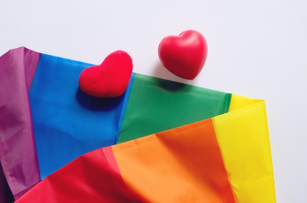 De regenboogvlag is een symbool van trots lgbt en lgbtq met hartvorm op wit