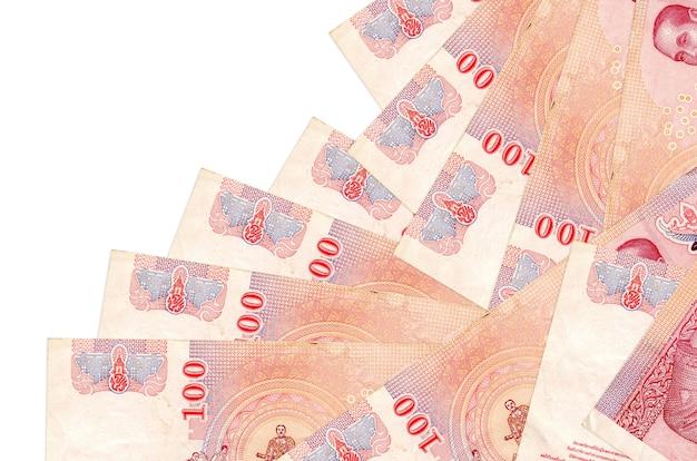 De rekeningen van de thaise baht liggen in verschillende volgorde op wit wordt geïsoleerd