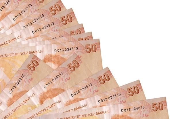 De rekeningen van de turkse lira liggen geïsoleerd op witte achtergrond met exemplaarruimte