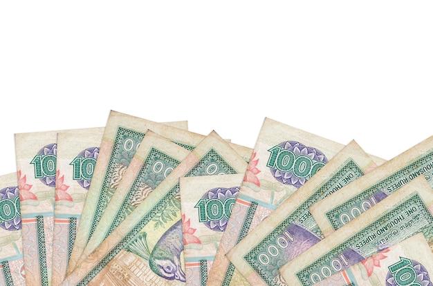 De rekeningen van sri lankaanse roepies liggen aan de onderkant van het geïsoleerde scherm