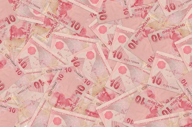 De rekeningen van turkse lira liggen in een grote stapel