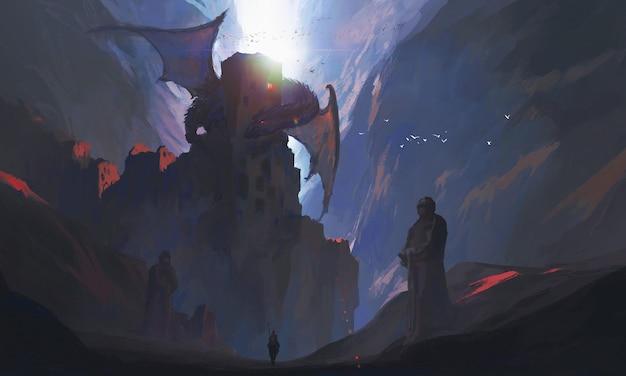 De ridders in de kloof dagen de draak uit, digitaal schilderen.
