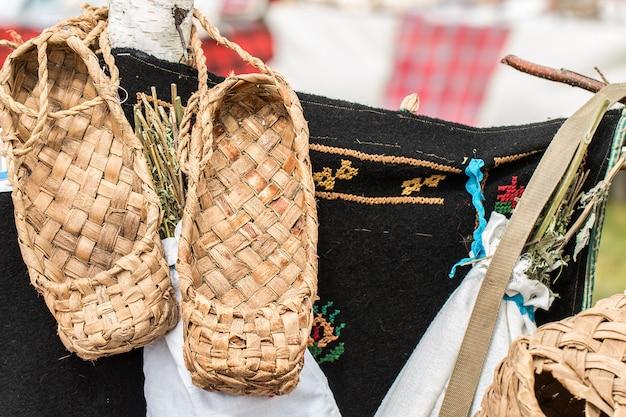 De rieten schoenen van de landelijke bevolking van rusland