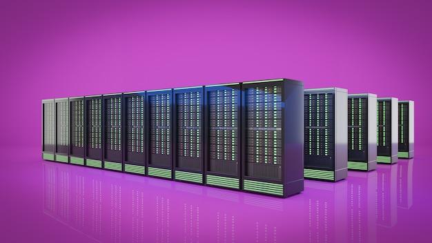 De rij van hosting server rekken container met paarse achtergrond. 3d render afbeelding.