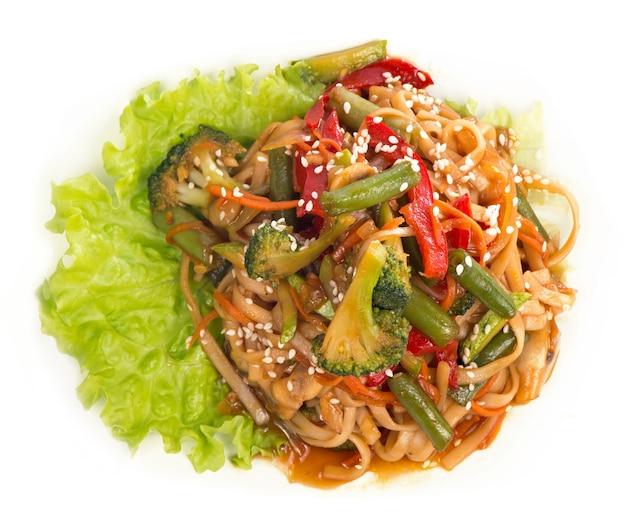 De rijstnoedel crêpe met garnalen, groente