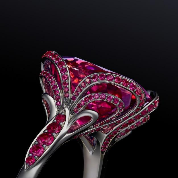 De ring van het de luxewitgoud van het verlovingshuwelijk met granaten op zwarte achtergrond, inbegrepen het knippen weg worden geïsoleerd die. extreem dichtbij.