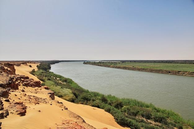De rivier de nijl in de woestijn van de sahara