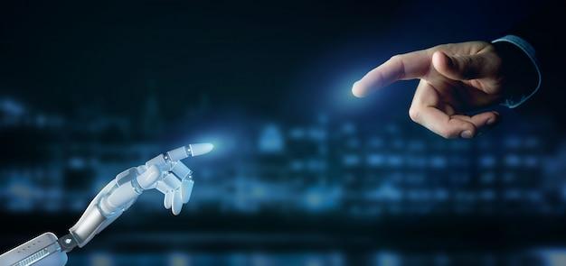 De robothand van cyborg op stad het 3d teruggeven als achtergrond