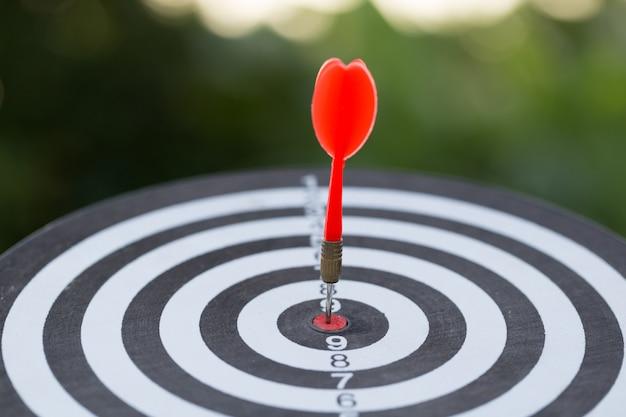 De rode pijl die van het pijltjesdoel op bullseye raken met, marketing van het doel en bedrijfs succesconcept
