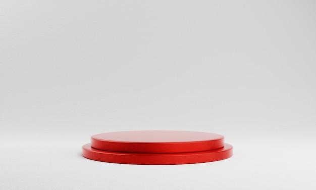 De rode ronde showcase van het cilinderproduct op witte achtergrond