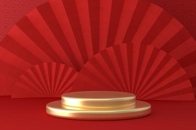 De rode showcase van het podiumproduct in chinese nieuwjaarsstijl met gouden ronde vorm
