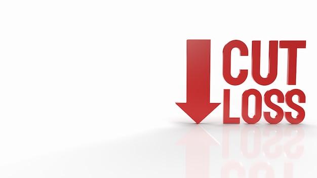 De rode tekst van het gesneden verlies op witte achtergrond voor het 3d teruggeven van bedrijfsinhoud.