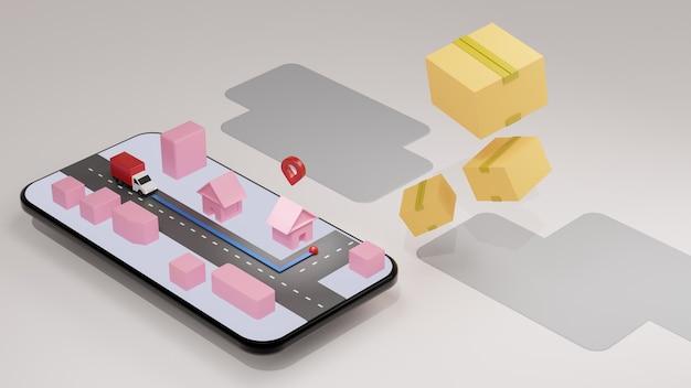 De rode vrachtwagen en kaart op het scherm van de mobiele telefoon met vallende pakketdoos, levering van de bestelling.
