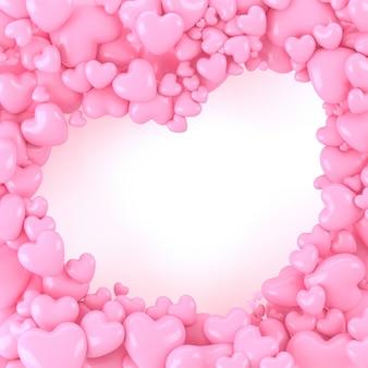 De roze 3d voorraad van de hartvorm met wit hartkader binnen, ruimte voor tekst of auteursrecht, leuke achtergrond, valentijnskaartenconcept, 3d rendering.jpg