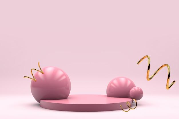 De roze achtergrond van het pastelkleurproductstadium voor 3d bannervlieger geeft terug
