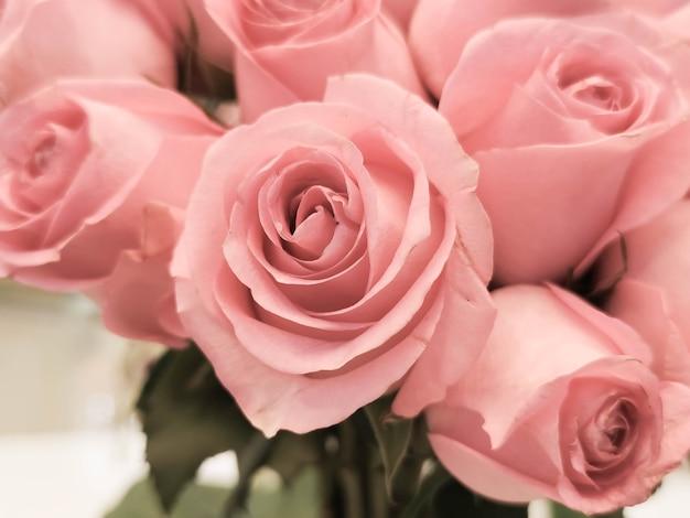 De roze rozenachtergrond voor valentijnsdag of moederdag of vrouwendagpostkaart