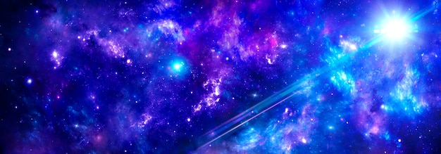 De ruimte met blauwpaarse nevels en een cluster van gas in het heelal, de stralen van de zon
