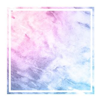 De ruimtekleuren overhandigen getrokken waterverf rechthoekige kaderstextuur als achtergrond met vlekken
