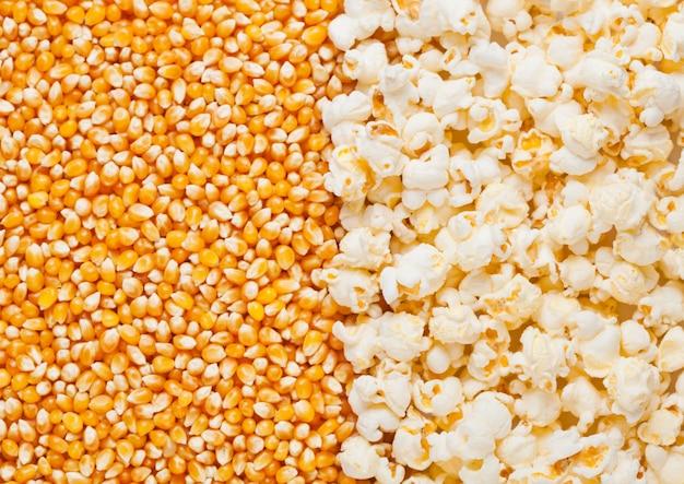 De ruwe gouden macro van de suikermaïs en van de popcornzaden halve plaat