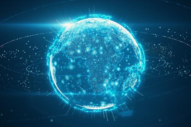 De samenvatting van de digitale planeet aarde van een technologisch gegevensnetwerk