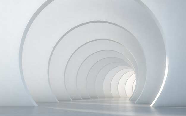 De samenvatting verlichtte leeg wit gang binnenlands ontwerp. 3d-rendering.