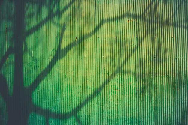 De schaduw van een boom op groene metalen plaat textuur achtergrond