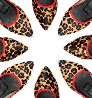 De schoenen van de luipaardvrouw op whitewith ruimte om hier uw tekst op te nemen