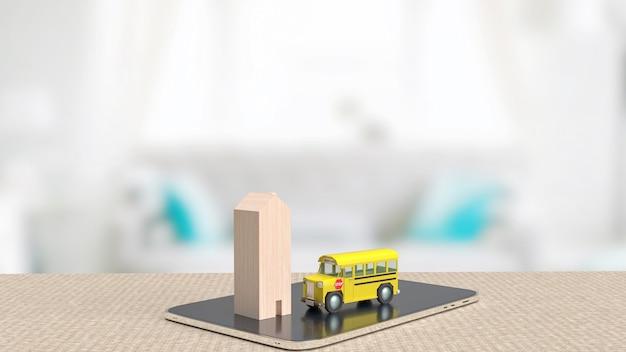 De schoolbus en het houten huis op tablet voor 3d-rendering van het onderwijsconcept concept