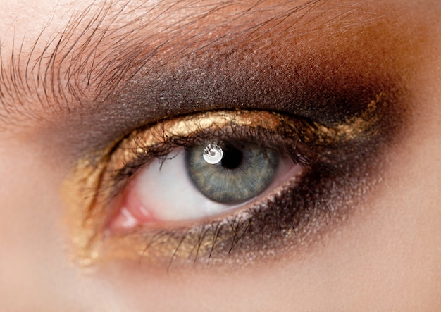 De schoonheid van de oogclose-up met de creatieve kleuren van make-up zwarte en gouden smokeyogen