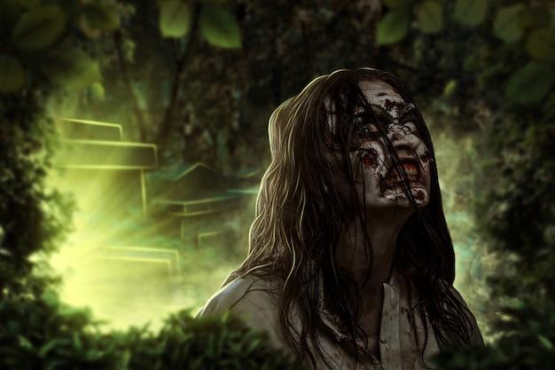 De schreeuwende vrouwelijke zombie op het kerkhof. verschrikking