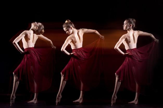 De sensuele en emotionele dans van mooie ballerina.