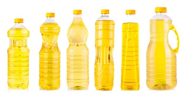 De set van flessen zonnebloemolie geïsoleerd