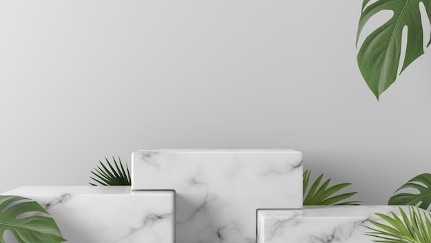 De showcasepodium en bladeren van de luxe witte marmeren doos op witte achtergrond