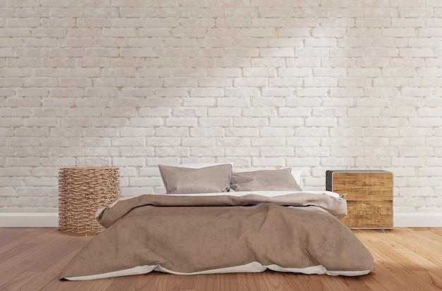 De slaapkamer met witte bakstenen muur, houten vloer, kabinet, lamp, bespot omhoog het 3d teruggeven