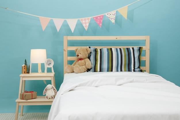 De slaapkamer voor kind, moderne blauwe slaapkamer voor kind