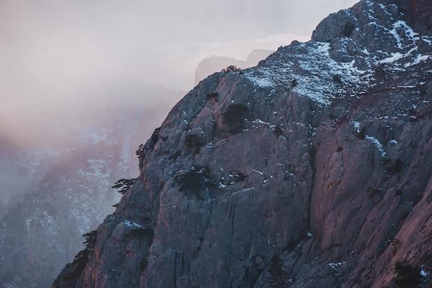 De sneeuwgebied van de de winterzonsondergang bovenop berghelling met ijzige pijnboombomen in het bos van de krim en heuvels onder grijze hemel.