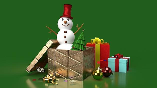 De sneeuwpop en geschenkdozen voor 3d-rendering van kerstinhoud