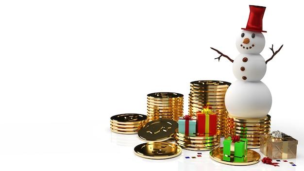 De sneeuwpop en gouden munten voor zaken in 3d-rendering van kerstmis of nieuwjaar